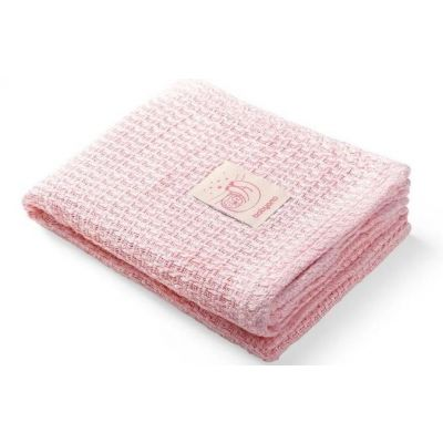Paturica tricotata din bambus 100x75 cm Baby Ono roz