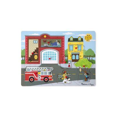 Melissa&Doug - Puzzle de lemn cu sunete Brigada de pompieri