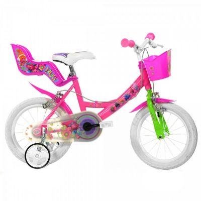Dino Bykes - Bicicleta cu roti ajutatoare Trolls 14 inch