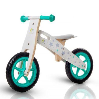 KinderKraft - Bicicleta din lemn fara pedale Runner Stars Deluxe