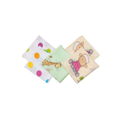 Fillikid - Set 5 scutece din bumbac cu imprimeu 70 x 70 cm