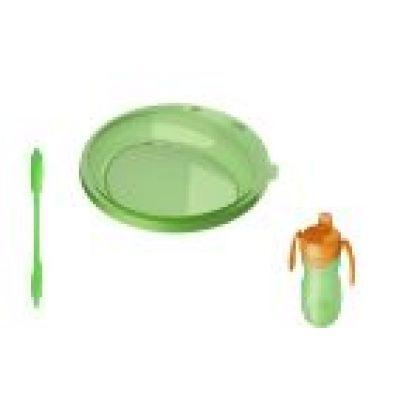 Sanremo -  Set farfurie cana cu cioc si lingura verde