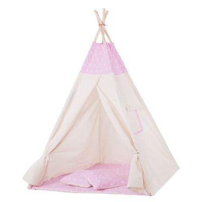 Cort copii stil indian Teepee Pink Stars XXL, include salteluta si doua pernute
