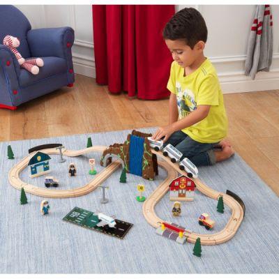 Kid Kraft - Set Trenulet din lemn Euro Express cu accesorii