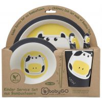 BabyGo - Set de alimentatie Bamboo Cow, 5 piese