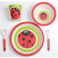 BabyGo - Set alimentatie Bamboo Ladybug, 5 piese