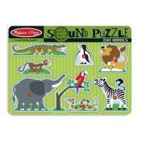 Melissa&Doug - Puzzle de lemn cu sunete Animale de la Zoo