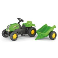 Rolly Toys - Tractor cu pedale si remorca 012169 verde