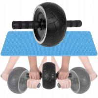 Roata fitness pentru abdomene cu covoras genunchi albastru