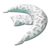 Perna gravide multifunctionala 8 in 1  Kidizi Luna Mint Feathers 230x35 cm, husa detasabila din bumbac