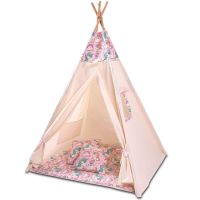 Cort copii stil indian Teepee Tent Kidizi Pink Unicorn, include covoras gros si 2 perne