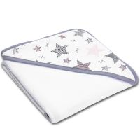 Prosop bebe din bumbac cu gluga 90x90 cm Kidizi All Pink Stars White