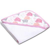 Prosop bebe din bumbac cu gluga 90x90 cm Kidizi Pink Elephants