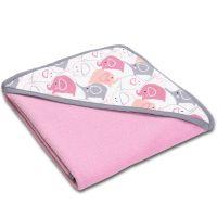 Prosop bebe din bumbac cu gluga 90x90 cm Kidizi Pink Elephants, roz