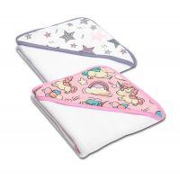 Set doua prosoape bebelus din bumbac cu gluga 90x90 cm Kidizi Pink Star Unicorn