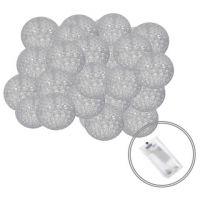 Ghirlanda luminoasa cu 20 globuri textile cu led Springos gri