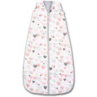 Sac de dormit copii de vara din muselina Kidizi Pink Hearts 70 cm