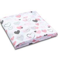 Muselina multifunctionala XXL 120x120 cm Kidizi Pink Hearts, 100% bumbac