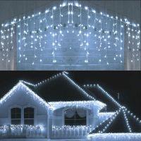 Instalatie luminoasa de craciun 306 leduri cu telecomanda, 6 m, exterior/interior, tip perdea de turturi alb rece