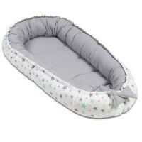 Cosulet bebelus pentru dormit Kidizi Baby Nest Cocoon 90x50 cm Grey Mint Stars
