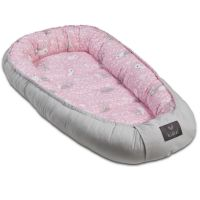 Cosulet bebelus pentru dormit Kidizi Baby Nest Cocoon XL 110x70 cm Sweet Bunny Grey