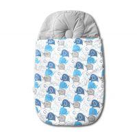 Sac de dormit bebelusi cu perna impotriva plagiocefaliei integrata Kidizi Blue Elephants