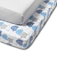 Set 2 cearceafuri din bumbac cu elastic  roata pentru patut 140x70 cm Kidizi Blue Elephant Grey