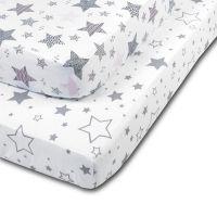 Set 2 cearceafuri din bumbac cu elastic  roata pentru patut 120x60 cm Kidizi Galaxy Grey Pink Stars