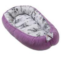 Cosulet bebe Kidizi Baby Nest Cocoon velvet 90x50 cm Purple Orchid, husa interior 100% bumbac