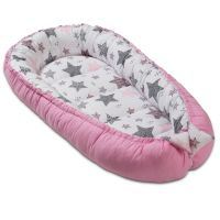 Cosulet bebelus pentru dormit Kidizi Baby Nest Cocoon 90x50 cm Pink Stars