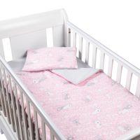 Set perna bebelus si plapumioara 100x75 cm din bumbac Kidizi Sweet Bunny Grey