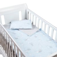 Set perna bebelus si plapumioara 100x75 cm din bumbac Kidizi Blue Bunny