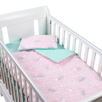 Set perna bebelus si plapumioara 100x75 cm din bumbac Kidizi Sweet Bunny Mint