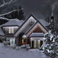 Instalatie luminoasa de craciun 1000 leduri, 45 m, exterior/interior, 8 functii, tip perdea de turturi alb rece