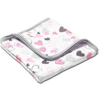 Paturica dubla de muselina 78x78 cm Kidizi Pink Hearts, 100% bumbac