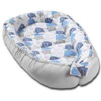 Cosulet bebelus pentru dormit Kidizi Baby Nest Cocoon 90x50 cm Blue Elephants