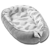 Cosulet bebe Kidizi Baby Nest Cocoon velvet 90x50 cm Grey Feathers, husa interior 100% bumbac