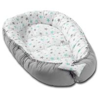 Cosulet bebelus pentru dormit Kidizi Baby Nest Cocoon XL 110x70 cm  Grey Mint Stars