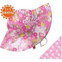 Iplay - Palarie soare copii cu doua fete Pink 6-18 luni UPF50+
