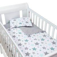 Set perna bebelus si plapumioara matlasata 100x75 cm Kidizi All Mint Stars