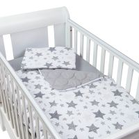 Set perna bebelus si plapumioara matlasata 100x75 cm Kidizi Magic Stars Grey