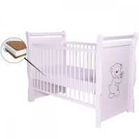 BabyNeeds - Patut din lemn Jas Ursulet 120x60 cm + Saltea 10 cm