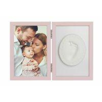 Kit rama foto cu amprenta Tiny Memories Baby HandPrint Pink