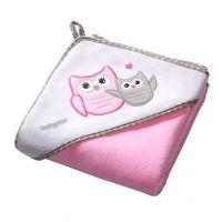 Prosop bebe cu gluga 100 X 100 cm Baby Ono Owl roz, 100% bumbac