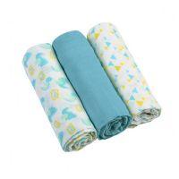 Set 3 scutece textile din muselina 70x70 cm Baby Ono turcoaz, 100% bumbac