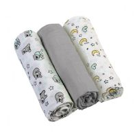 Set 3 scutece textile din muselina 70x70 cm Baby Ono gri, 100% bumbac