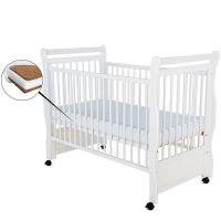 BabyNeeds - Patut din lemn Jas 120x60 cm alb + saltea 12cm