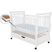 BabyNeeds - Patut din lemn Jas 120x60 cm cu sertar alb+ saltea 12cm
