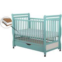 BabyNeeds - Patut din lemn Jas 120x60 cm cu sertar Mint + Saltea 10 cm