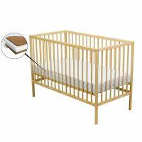 BabyNeeds - Patut din lemn Maks 120x60 cm Natur + Saltea 8 cm